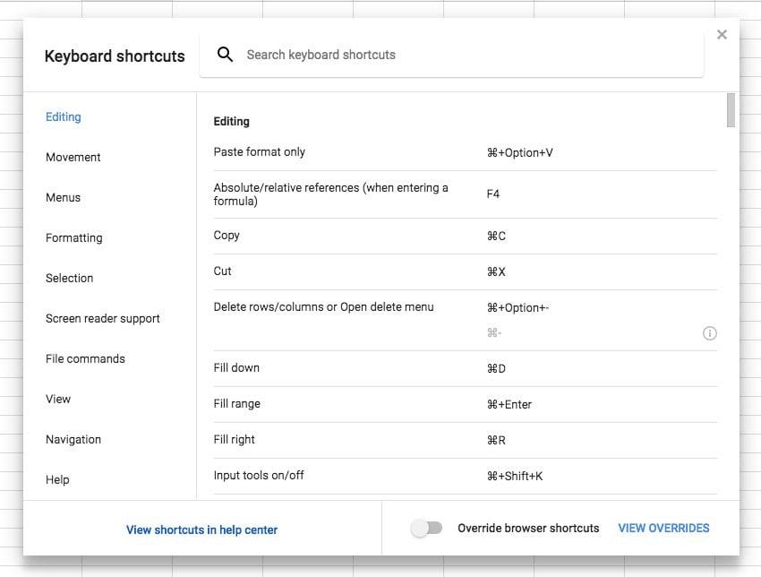 Keyboard Shortcuts in Sheets