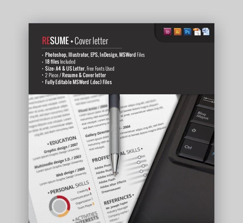 2 Piece Pro Resume editable resume template