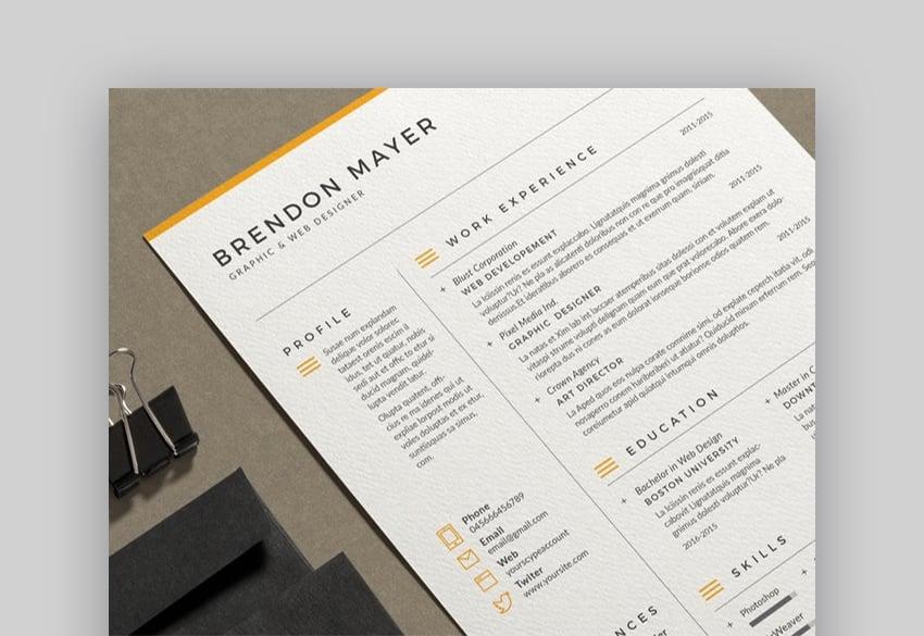 Resume Brendon easy resume template