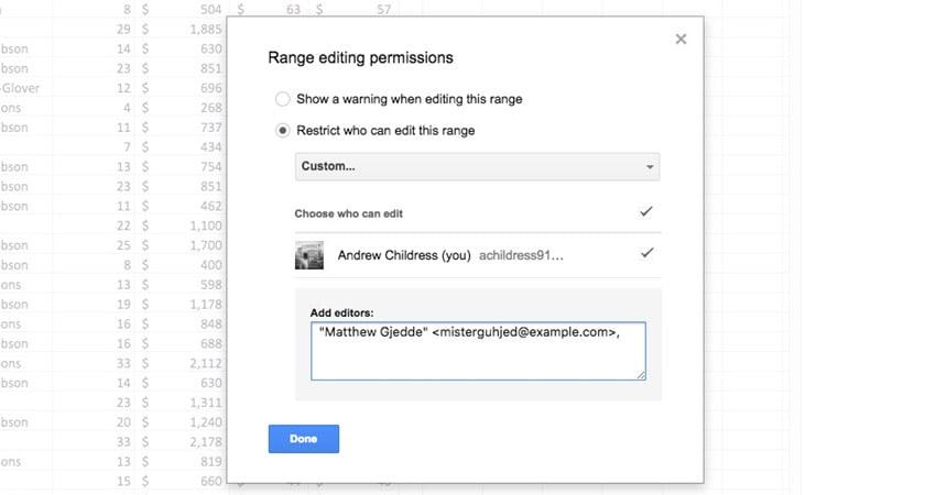Edit Selected Range - Add Users