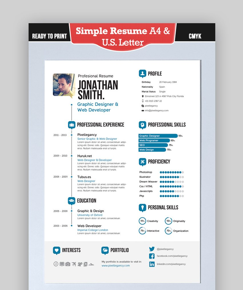 Simple Resume A4 and US Letter