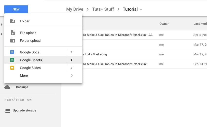 New Google Sheets file
