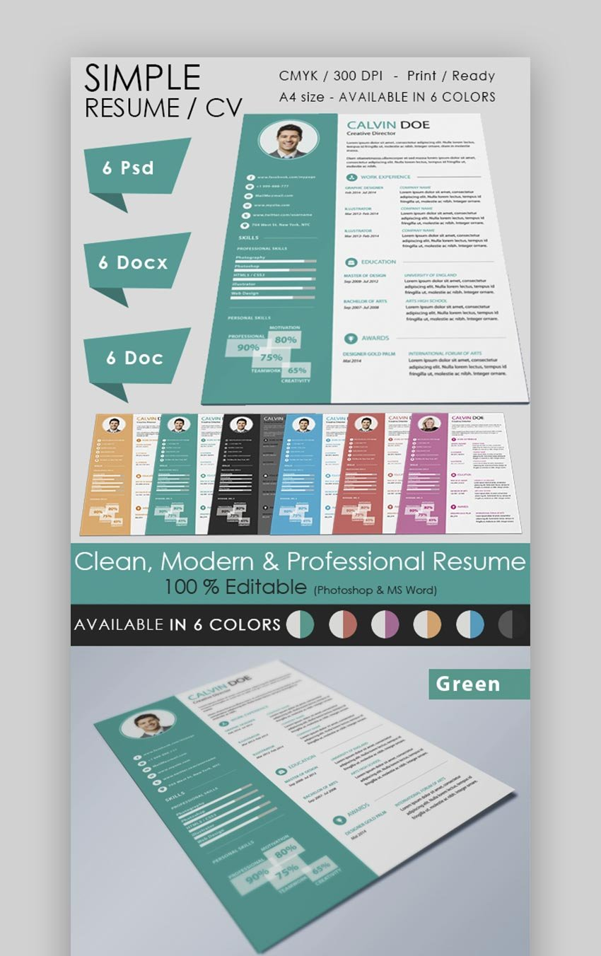 Simple Resume Ideal for Creative Work