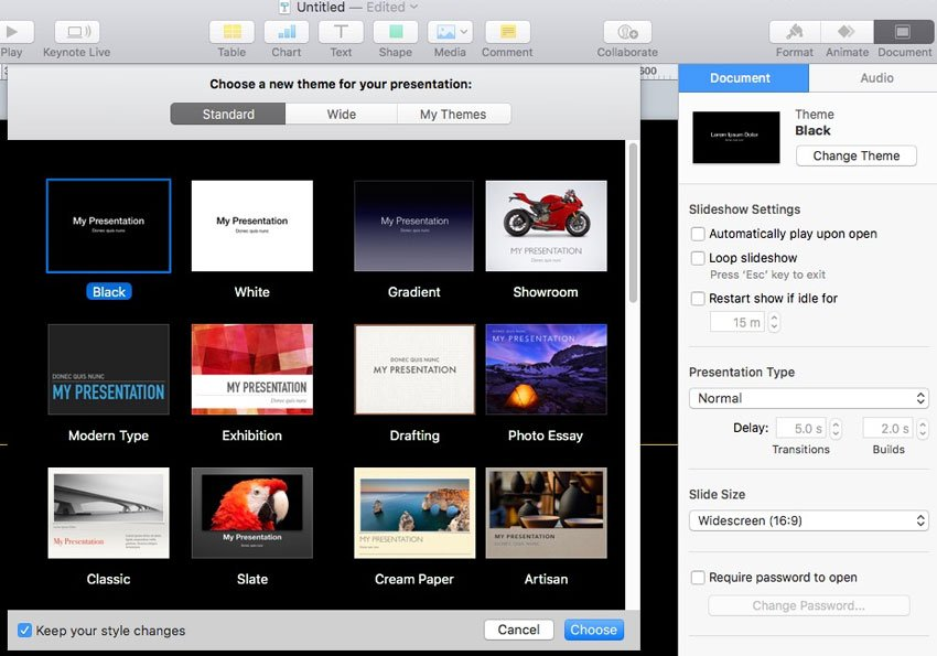 Change Theme in Keynote Example