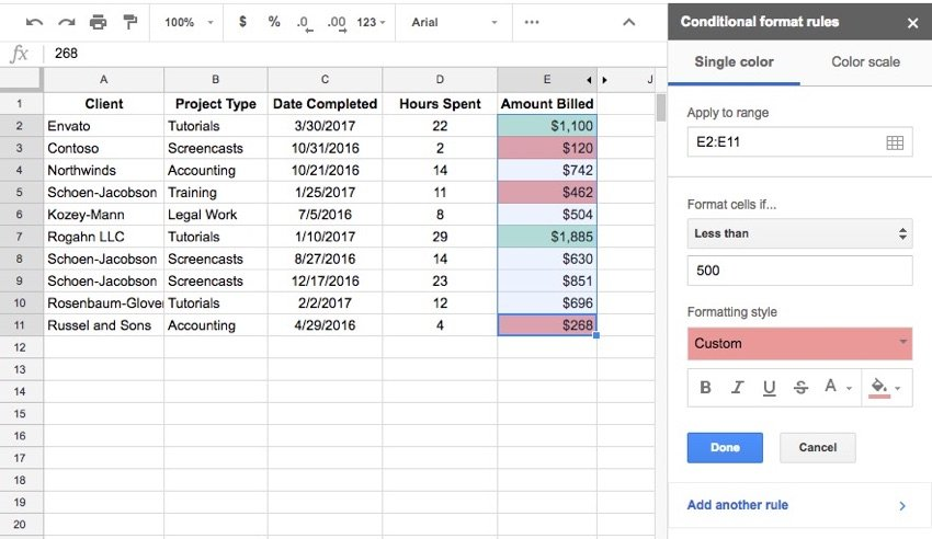 Less than Conditional Format rule