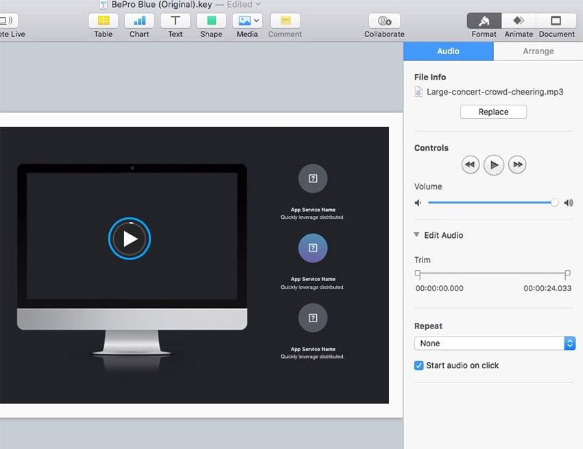 Audio Settings Controls in Keynote
