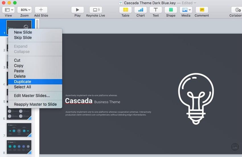 Duplicate Slide in Keynote