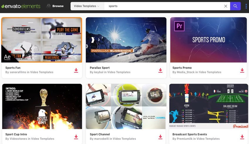 Envato Elements Sports projects