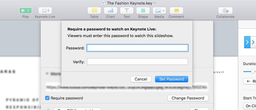 Require Password for Keynote Live