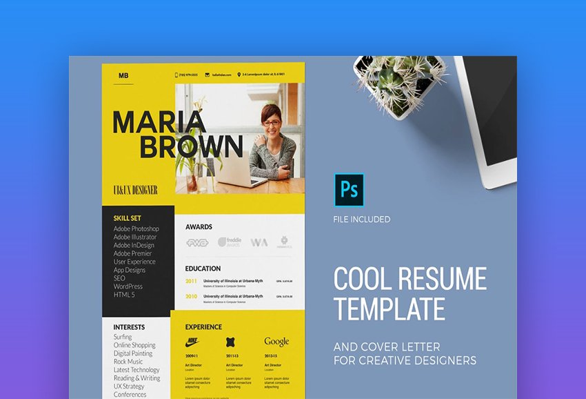 Cool Resume Template and Cover Letter