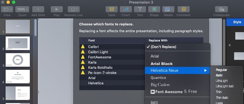 Replace fonts in Keynote
