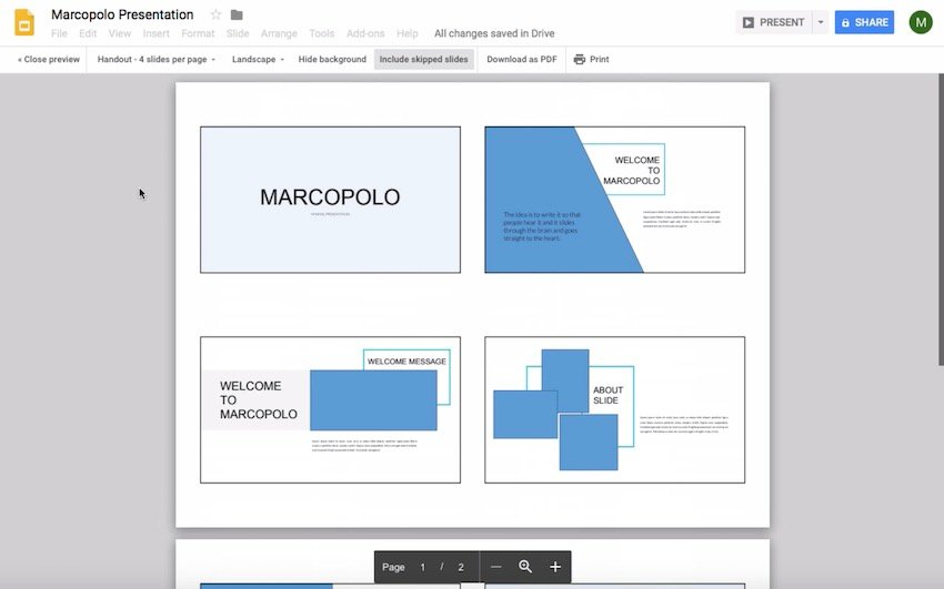 Change to 4 slides per page