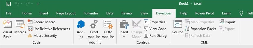 Macros button on Developer tab