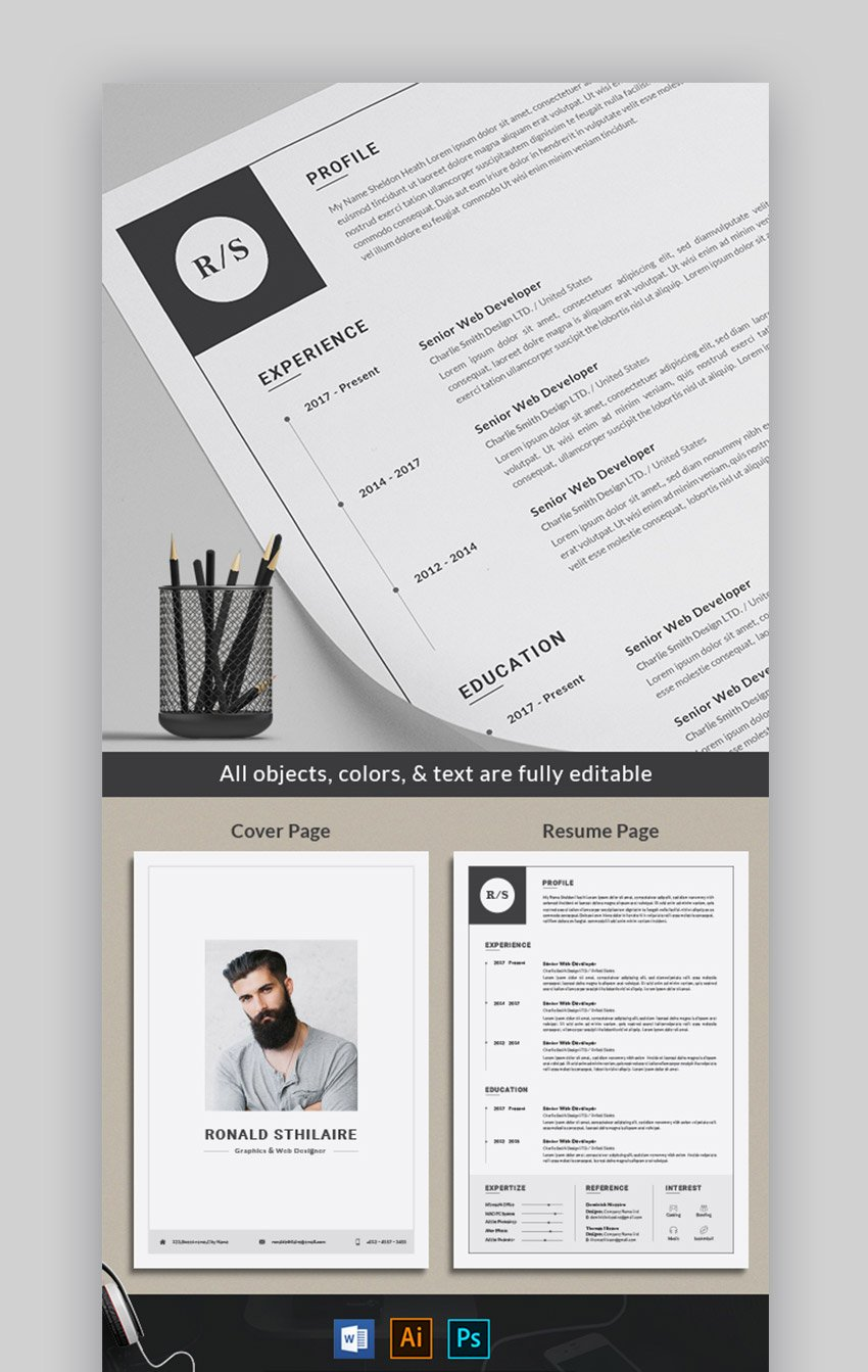 Grayscale Bold Resume