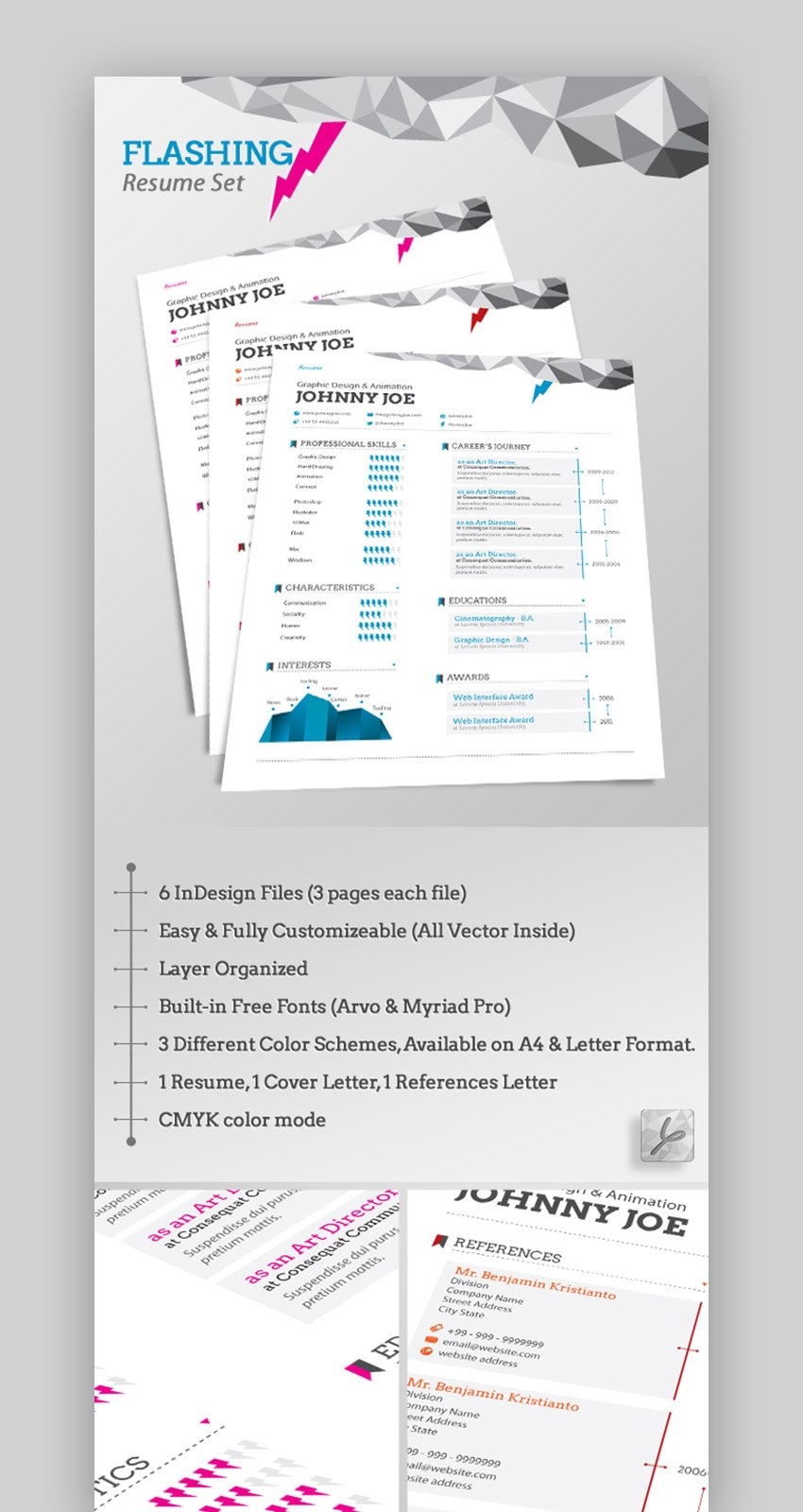 Flashing Resume with Infographic Icons