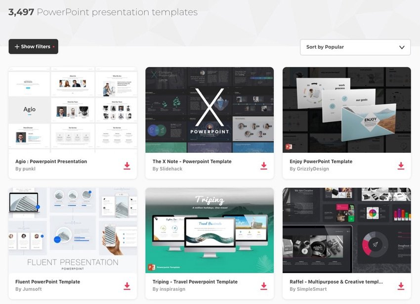 PowerPoint templates offering