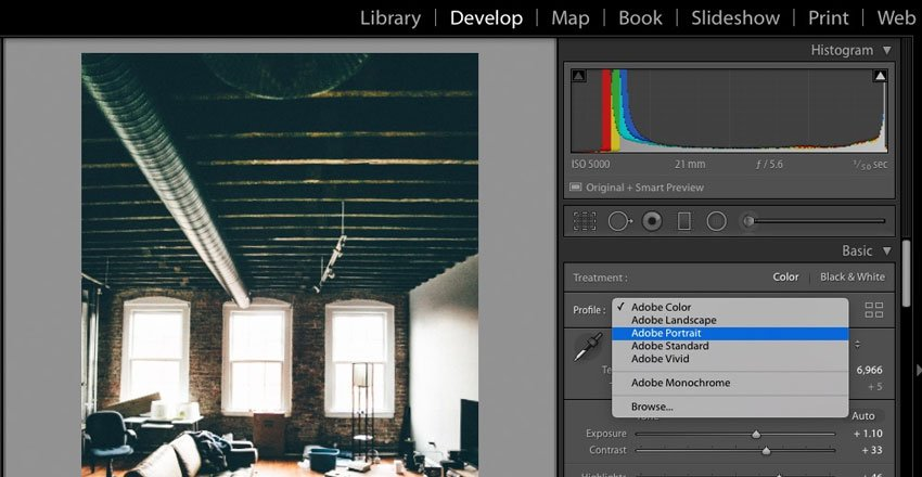 Select a profile Adobe Lightroom