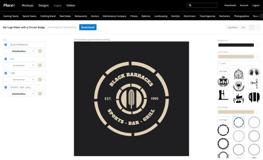 Select Bar Logo from Placeit