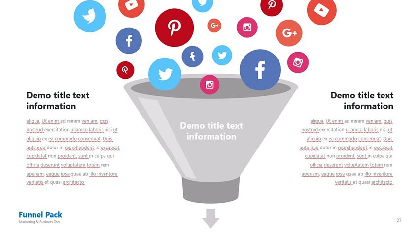 Social Icons in PowerPoint Funnel Diagram