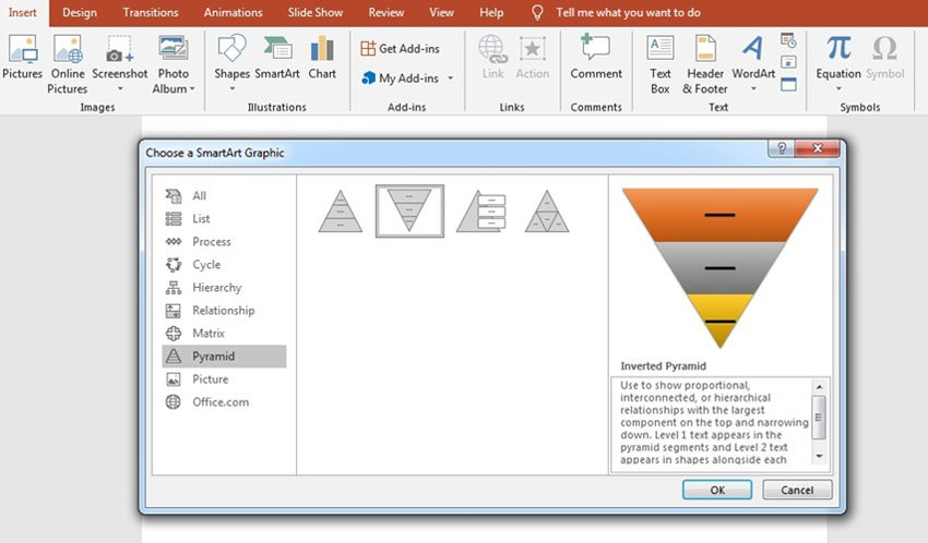 Insert Smartart Pyramid PowerPoint