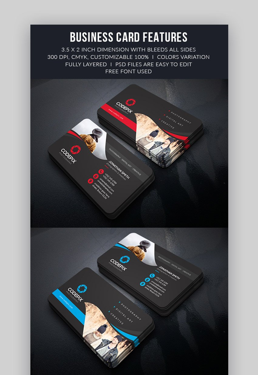 Personalized business card templates for photographers