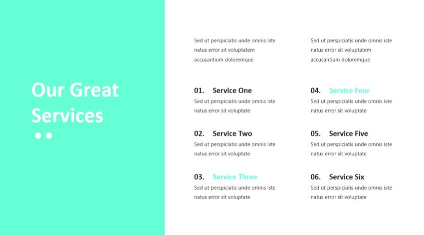 Services Slide in the Best PowerPoint template