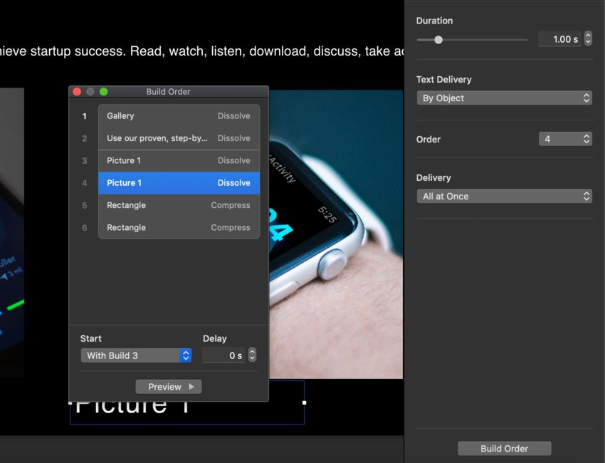 Re-sequence animations for Keynote