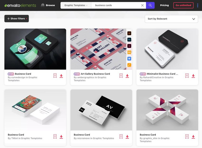 Envato Elements Unlimited Creative Business Cards