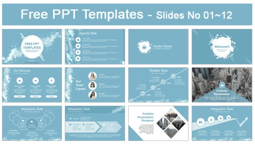Water Colored Splashes Best PowerPoint Templates Free