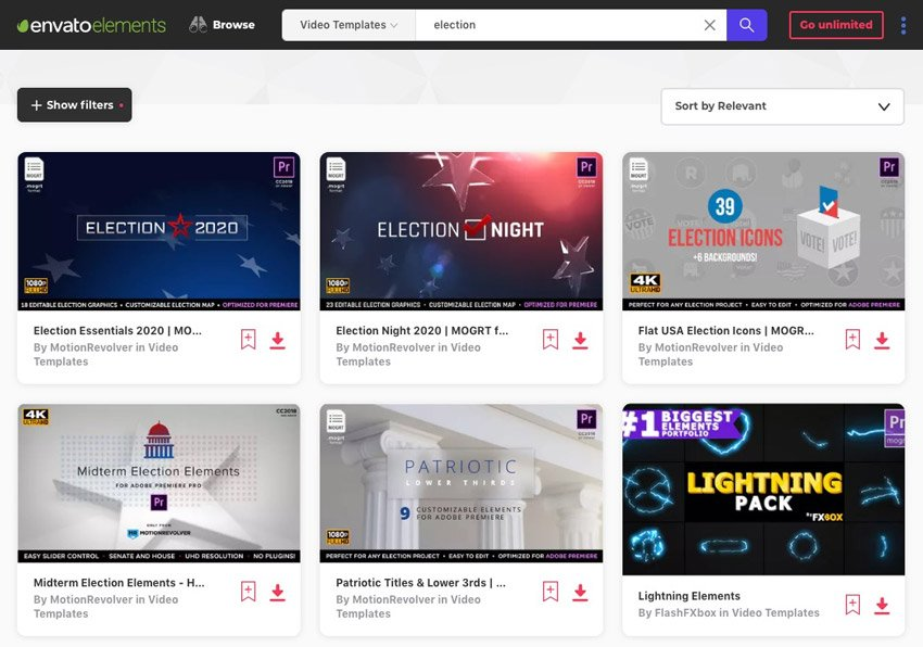 Adobe Premiere templates for Envato Elements