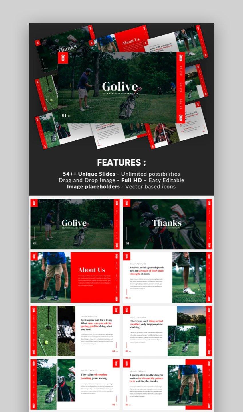 Golf sports PowerPoint template