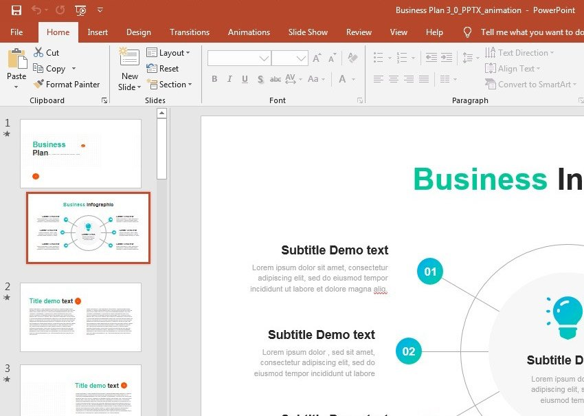 PowerPoint business plan slide selections