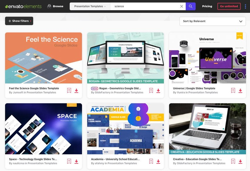 Google Slides themes for Science
