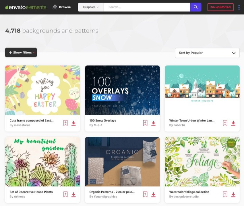 Envato Elements backgrounds and patterns
