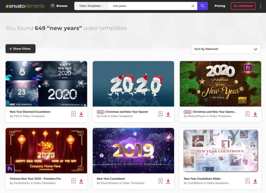 Envato Elements download video templates for New Years