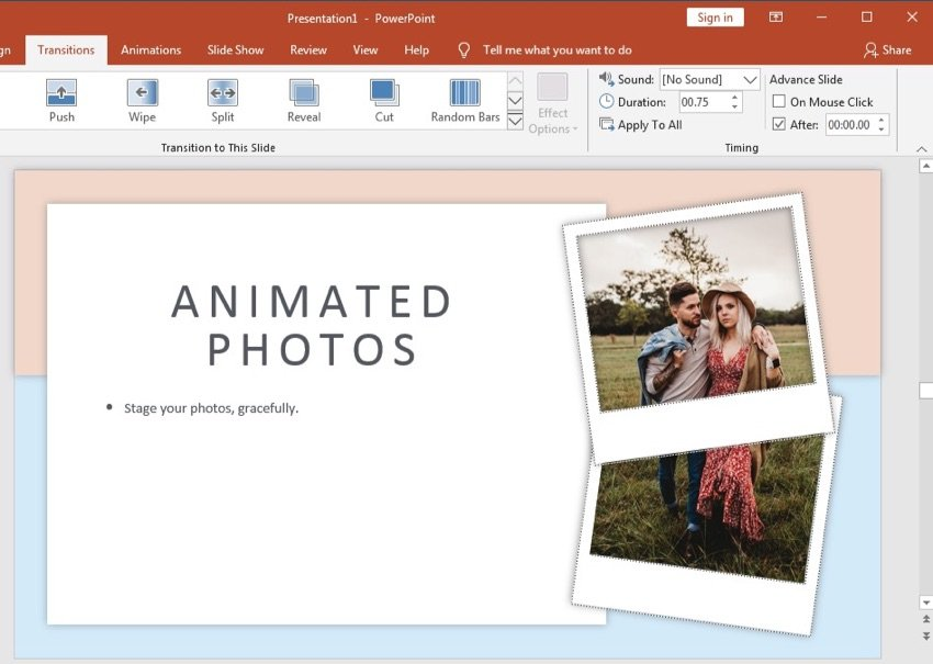 Transitions in PowerPoint photo album