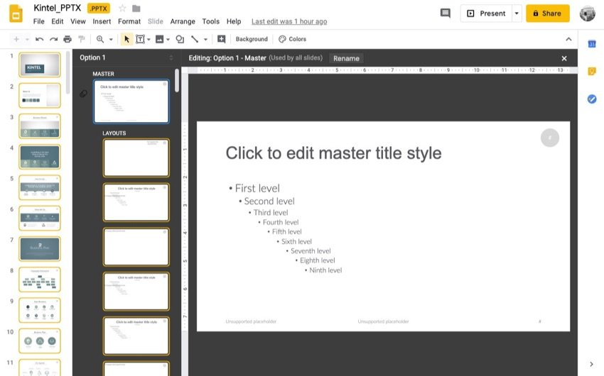 Edit the Slide Master to save time