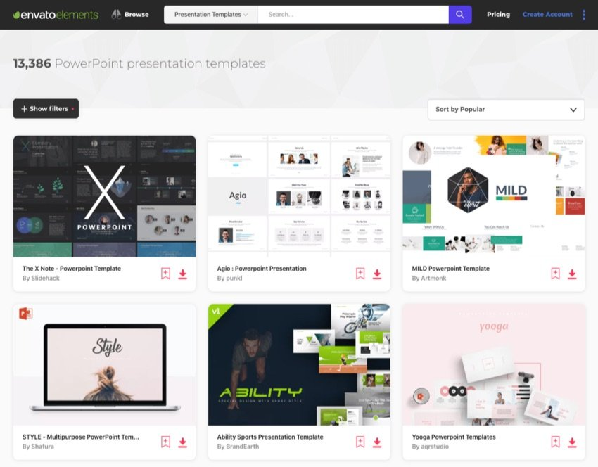 Envato Elements Awesome PowerPoint Designs