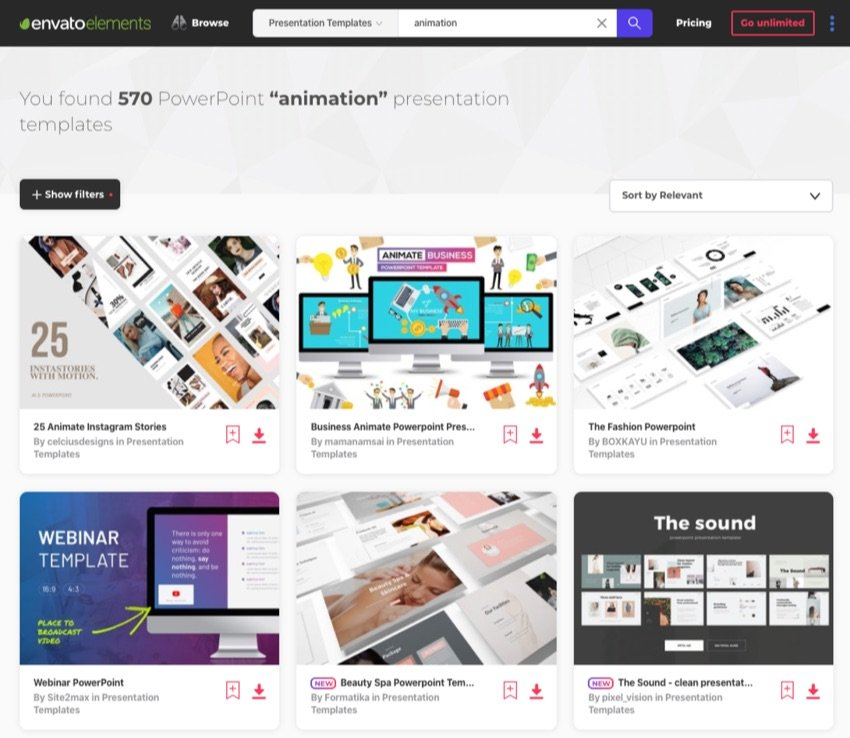Envato Elements Animate PowerPoint template