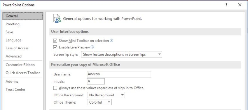 PowerPoint customize personalization feature