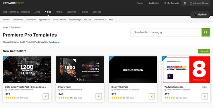 Envato Market Premiere Pro Templates