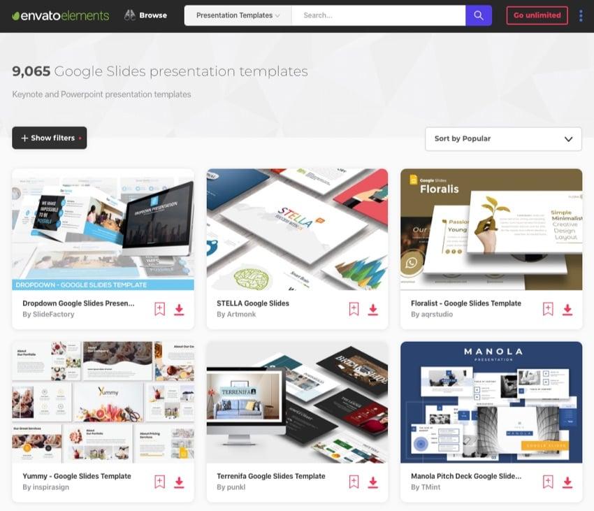 Envato Elements custom Google Slides themes