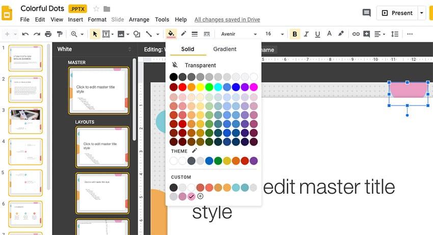 Colorful dots in Google Slides master