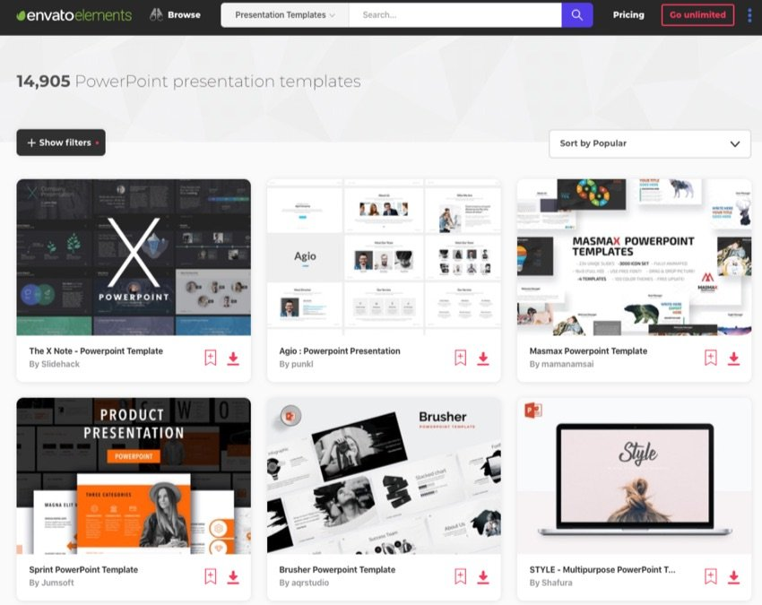 Envato Elements PowerPoint template library