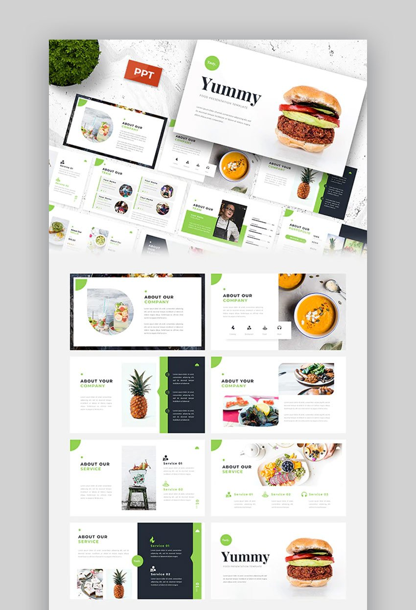 Yummy food PowerPoint template