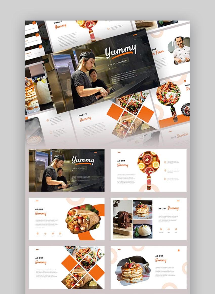Yummy restaurant menu PowerPoint template