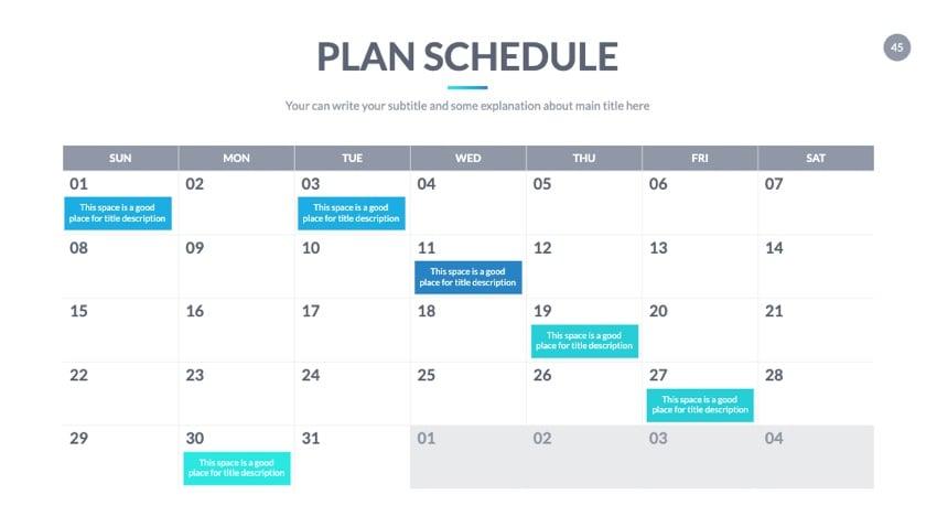 Plan calendar for Google Slides