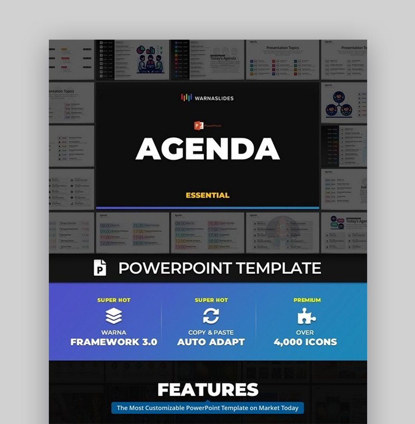 Agenda calendar template PPT