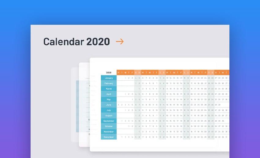 Calendar slide template 2020