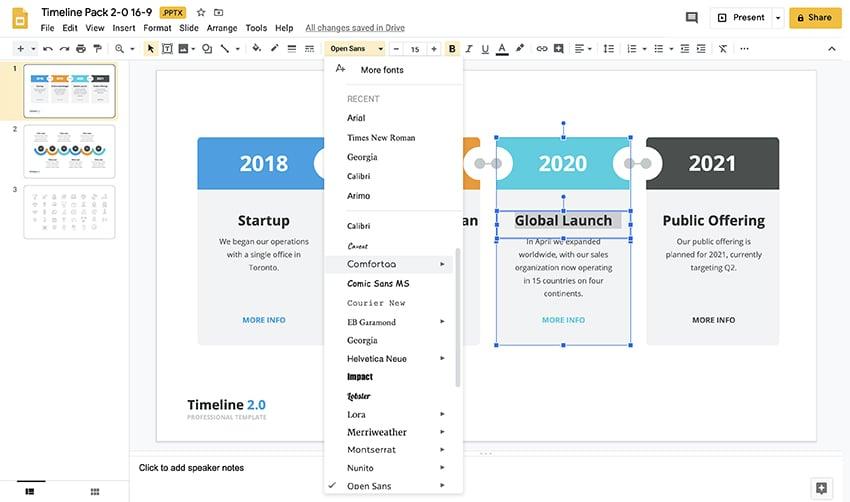 Timeline template Google Slides step 3